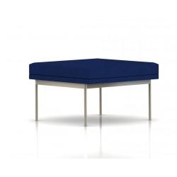 Pouf Tuxedo Ottoman Herman Miller 1 place - structure satin chrome - Tissu Ottoman Bleu