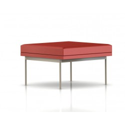 Pouf Tuxedo Ottoman Herman Miller 1 place - structure satin chrome - Cuir MCL Rouge