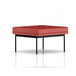Pouf Tuxedo Ottoman Herman Miller 1 place - surpiqures - structure noire - Cuir MCL Rouge
