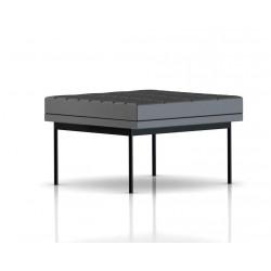 Pouf Tuxedo Ottoman Herman Miller 1 place - surpiqures - structure noire - Cuir MCL Lava
