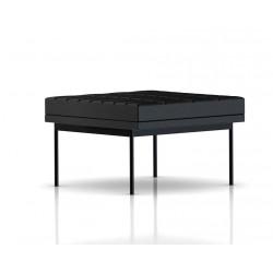 Pouf Tuxedo Ottoman Herman Miller 1 place - surpiqures - structure noire - Cuir MCL Noir