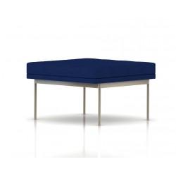 Pouf Tuxedo Ottoman Herman Miller 1 place - surpiqures - structure satin chrome - Tissu Ottoman Bleu