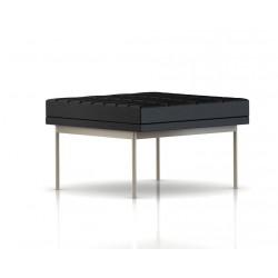 Pouf Tuxedo Ottoman Herman Miller 1 place - surpiqures - structure satin chrome - Cuir MCL Noir