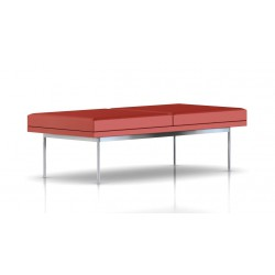 Banc Tuxedo Herman Miller 2 places - structure chromée - Cuir MCL Rouge