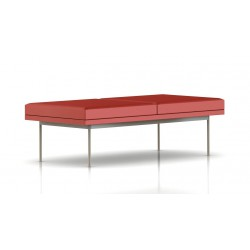 Banc Tuxedo Herman Miller 2 places - structure satin chrome - Cuir MCL Rouge