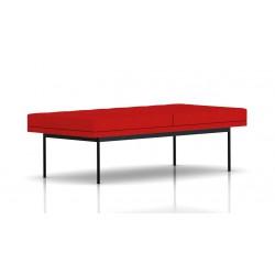 Banc Tuxedo Herman Miller 2 places - surpiqures - structure noire - Tissu Ottoman Rouge