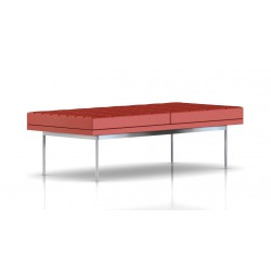 Banc Tuxedo Herman Miller 2 places - surpiqures - structure chromée - Cuir MCL Rouge