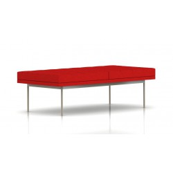 Banc Tuxedo Herman Miller 2 places - surpiqures - structure satin chrome - Tissu Ottoman Rouge