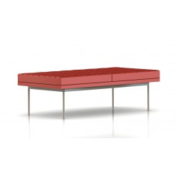 Banc Tuxedo Herman Miller 2 places - surpiqures - structure satin chrome - Cuir MCL Rouge