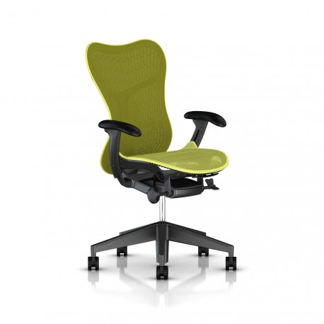 Fauteuil Mirra 2 Herman Miller Graphite / Butterfly Lime Green