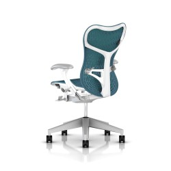 Fauteuil Mirra 2 Herman Miller Fog Studio White / Butterfly Dark Turquoise