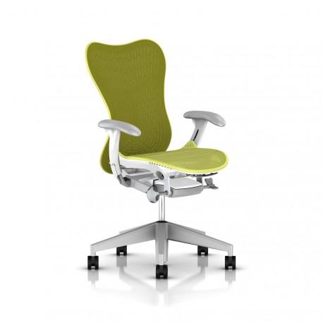 Fauteuil Mirra 2 Herman Miller Fog Studio White / Butterfly Lime Green