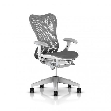 Fauteuil Mirra 2 Herman Miller Fog Studio White / Triflex Slate Grey