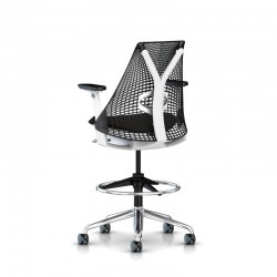 Sayl stool - Studio white / Aluminium poli - Siège de bureau haut