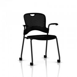 Caper - Chaise empilable - Roulettes moquette