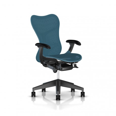 Fauteuil Mirra 2 Herman Miller Graphite / Butterfly Dark Turquoise